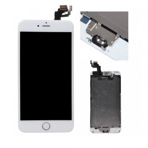 Replacement LCD Screen and Digitizer for iPhone 6 Plus Full Assembly with Frame+Small parts  White